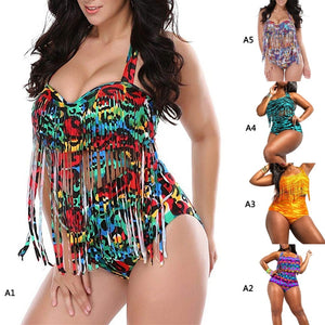 High Waist Swimsuit Tassels Bathing Suit Swimwear Sexy Retro Push Up Tassels Beach Bathing Suit L-XXXL