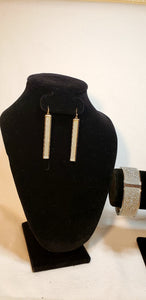 SILVER BAR EARRING AND BANGLE SET