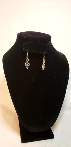 TREBLE CLEF RHINESTONE EARRINGS
