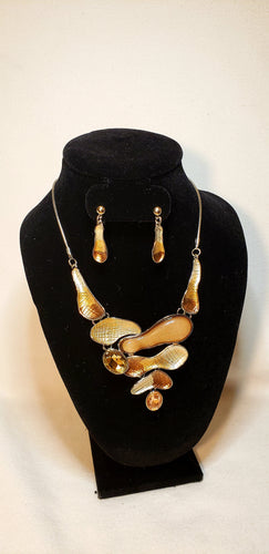SILVER AND BROWN MINI BIB SET