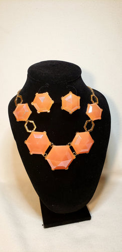 CORAL HEXAGON NECKLACE SET