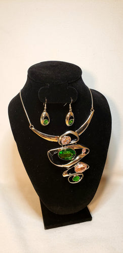 STACKED PINK AND GREEN NECKLACE SET