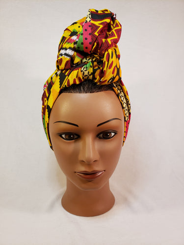 Multi Pattern Kente Head Wrap