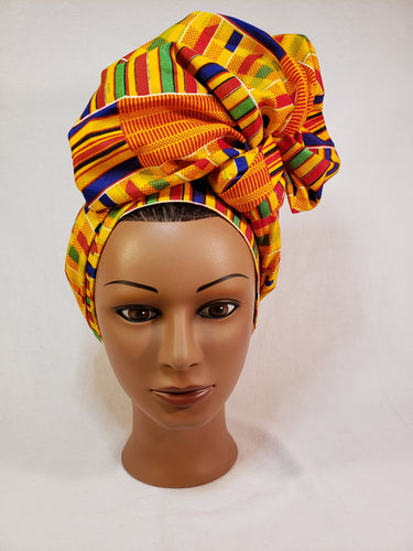Gold Traditional Kente Head Wrap