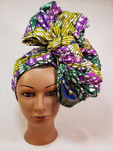 Load image into Gallery viewer, Green and Purple Head Wrap