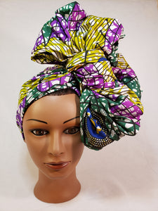 Green and Purple Head Wrap