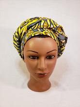 Load image into Gallery viewer, Yellow and Grey Head Wrap