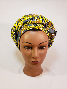 Yellow and Grey Head Wrap