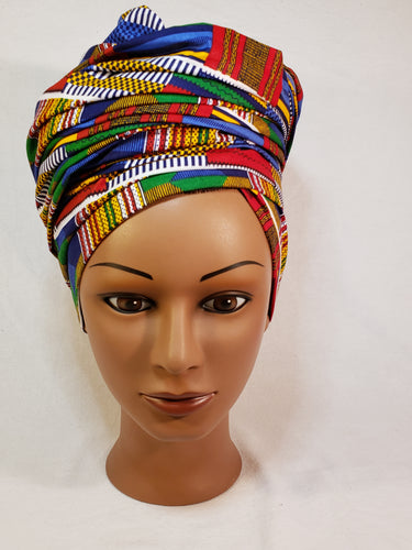 Blue Traditional Kente Head Wrap