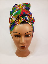 Load image into Gallery viewer, Blue Traditional Kente Head Wrap