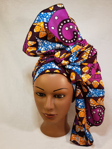 Purple  and Orange Head Wrap