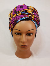Load image into Gallery viewer, Purple  and Orange Head Wrap