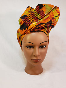 Gold and Black Kente Head Wrap