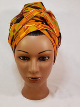 Load image into Gallery viewer, Gold and Black Kente Head Wrap