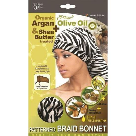 Qfitt 4 in 1 Oil Infused Pattern Braid Bonnet #8493