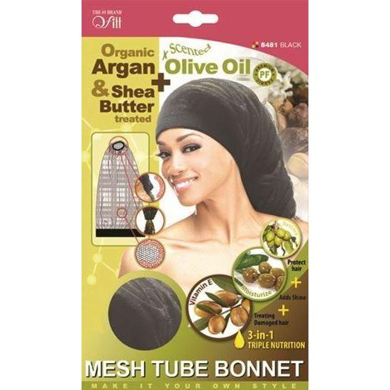 Qfitt 3 in 1 Oil Infused Mesh Tube Bonnet #8481 Black