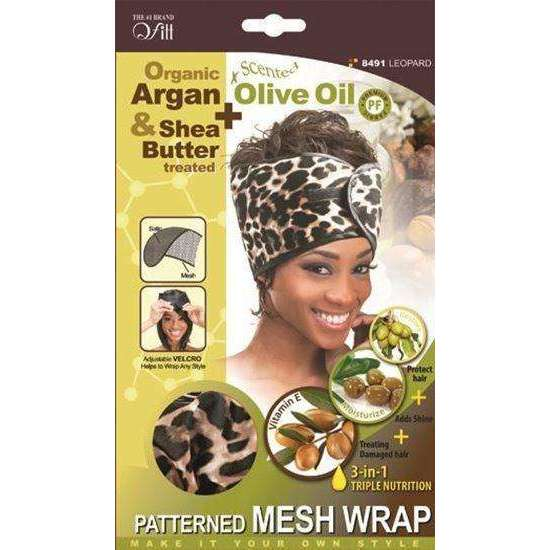 Qfitt Organic Argan & Shea Butter + Olive Oil Patterned MESH WRAP #8491