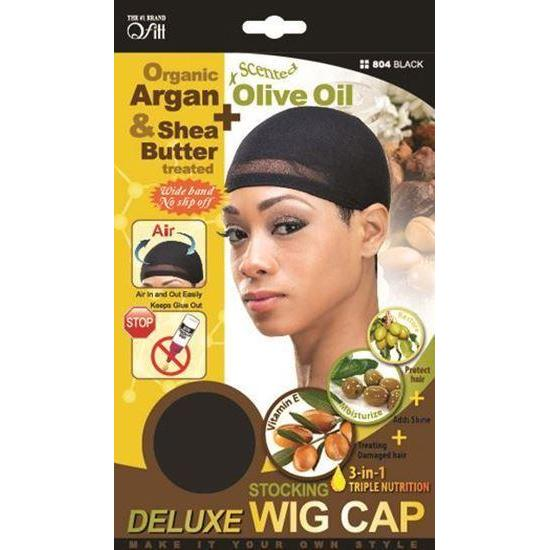 Qfitt 3 in 1 Oil Infused Stocking Deluxe Wig Cap #804 Black