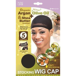 Qfitt 3 in 1 Oil Infused Stocking Wig Cap #801