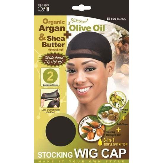 Qfitt 3 in 1 Oil Infused Stocking Wig Cap #800 Black