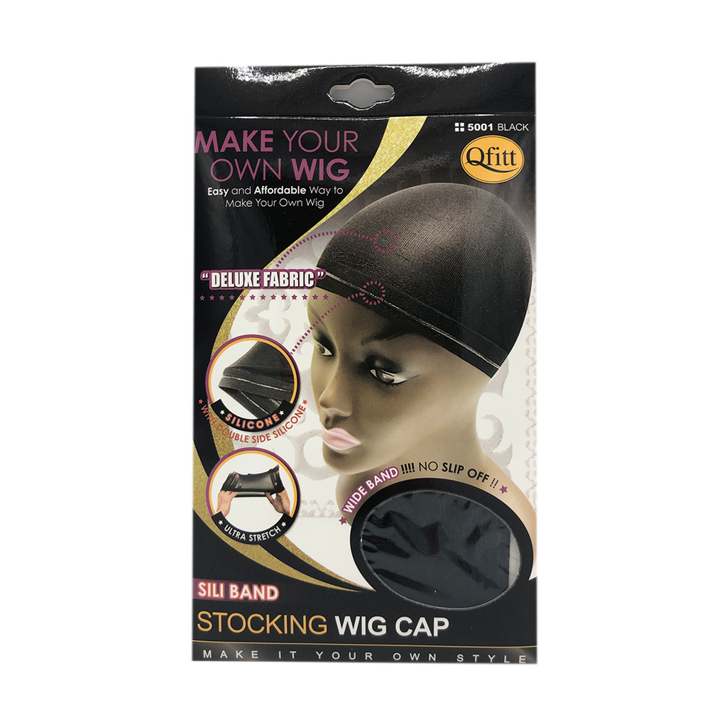 Qfitt Sili Band Stocking Wig Cap #5001 Black