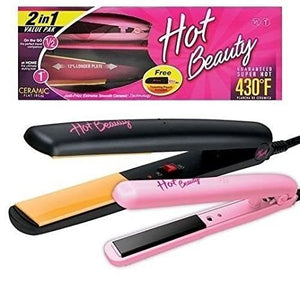 "Hot Beauty Ceramic Flat Irons 2-in-1 Value Pack 1"" and Mini 1/2"""