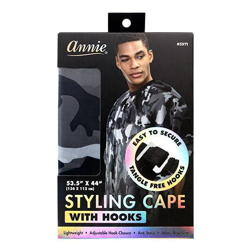 "ANNIE STYLING CAPE WITH HOOK 53.5"" X 44"" - CAMO"