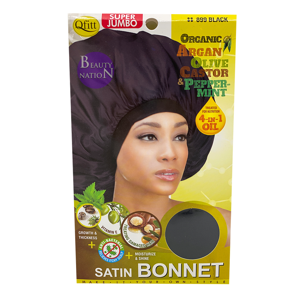 Qfitt 4 in 1 Oil Infused Super Jumbo Satin Bonnet #898/#899 Black