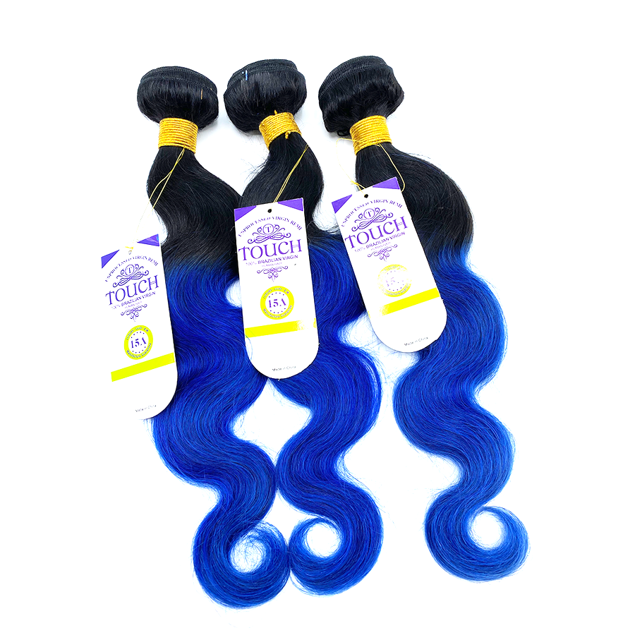 15A 100% Human - TOUCH BUNDLES - BODY WAVE SET - T1B/BLUE