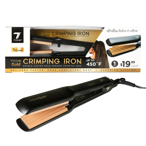 Tyche Double Coated GOLD CRIMPING IRON 1 1/2""