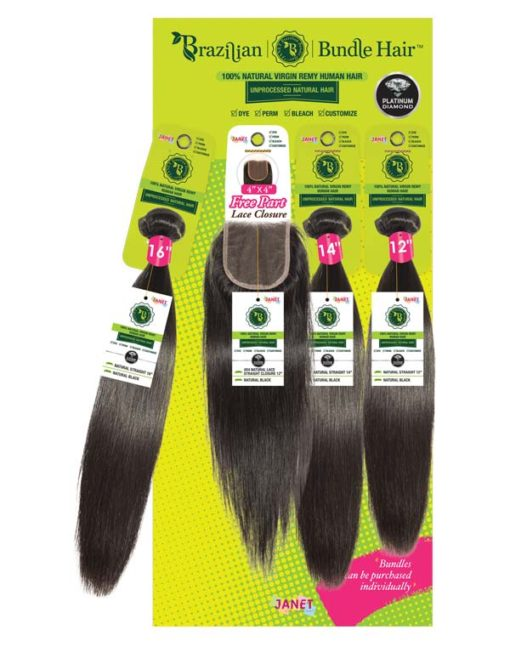 Janet Collection 100% Unprocessed Natural Brazilian Virgin Human Hair Straight - 4X4 Free Part