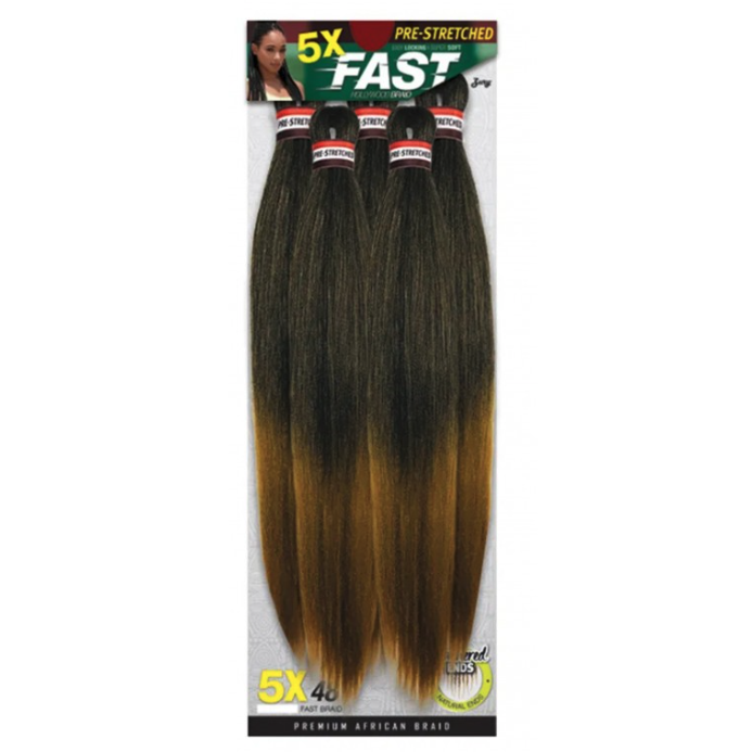 Zury 5X PACK Feather Ends Pre-Stretched Fast Hollywood Braid 48""