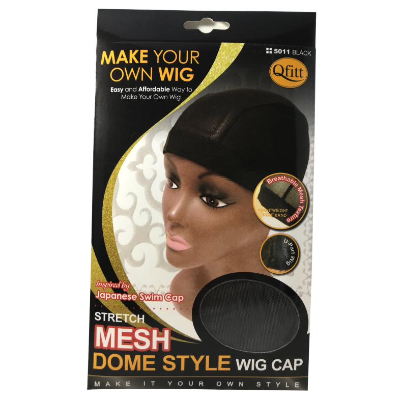 Qfitt Stretch Mesh Dome Style Wig Cap Black #5011/5021