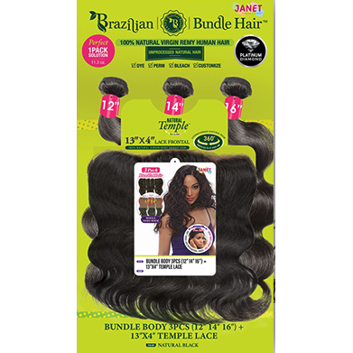 Janet Collection 100% Unprocessed Natural Brazilian Virgin Human Hair - 13X4 TEMPLE LACE BUNDLE BODY WAVE