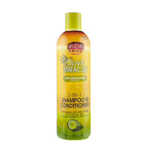 African Pride Olive Miracle Anti-Breakage 2-in-1 Shampoo & Conditioner - 12 oz
