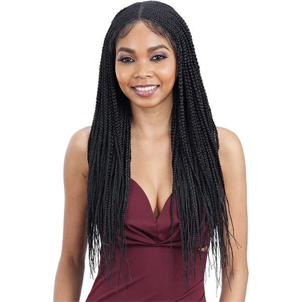 Model Model Synthetic Braided 5x5 Lace Wig CORNROW BRAIDS