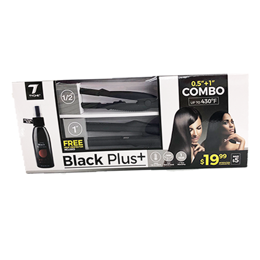 Tyche Black Combo - Ceramic Flat Iron Set w/ Heat Protectant Spray