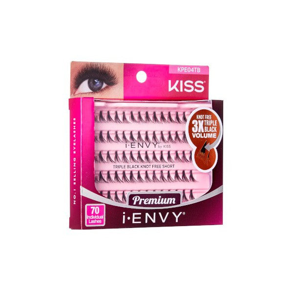 KISS I-ENVY PREMIUM EYELASHES - TRIPLE KNOT FREE SHORT -KPEO4TB