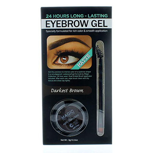 Eyebrow Gel + Brush Waterproof and Smudge proof Formula 24 Hours Long Lasting by Magic (Darkest Brown)