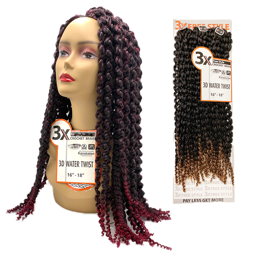 "3X Crochet 3D Water Twist Braid 16""-18"" by NYQ"