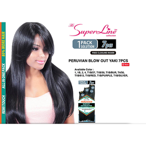 "The SuperLine Peruvian Yaki Weave 7 pcs 12""/14""/16"" with Closure"