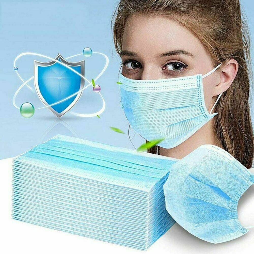 3-Layers Cloth Fabric Face Mouth Mask - 50 Masks