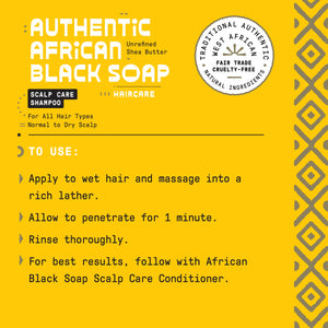 Authentic African Black Soap Scalp Care Shampoo,  Cleansing Tea Tree & Mint