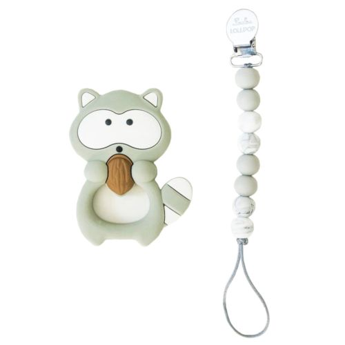 Loulou Lollipop Raccoon Teether with Clip