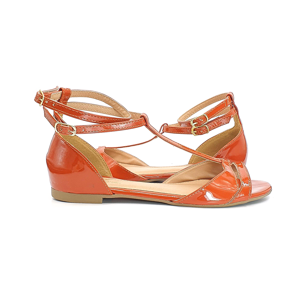 Varnished Caramel Strapped Dance Flats