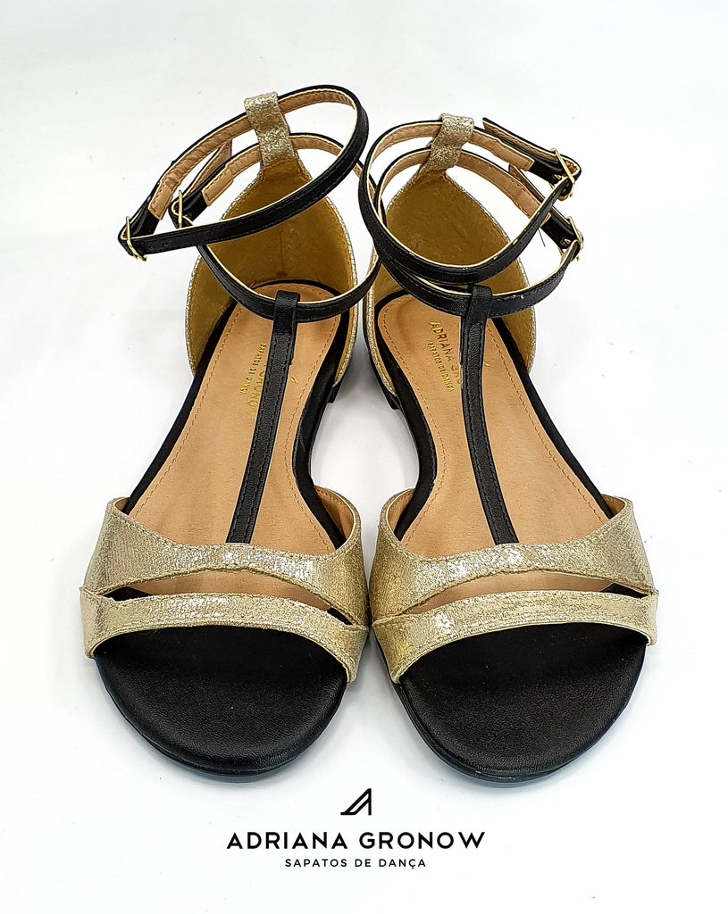 Black & Gold Dance Flats
