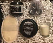 Load image into Gallery viewer, Home Spa Gift Box - Shea Hair & Body Butter or Muscle & Joint Cream, with matching Exfoliating Body Scrub