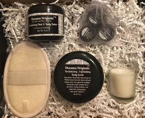Home Spa Gift Box - Shea Hair & Body Butter or Muscle & Joint Cream, with matching Exfoliating Body Scrub