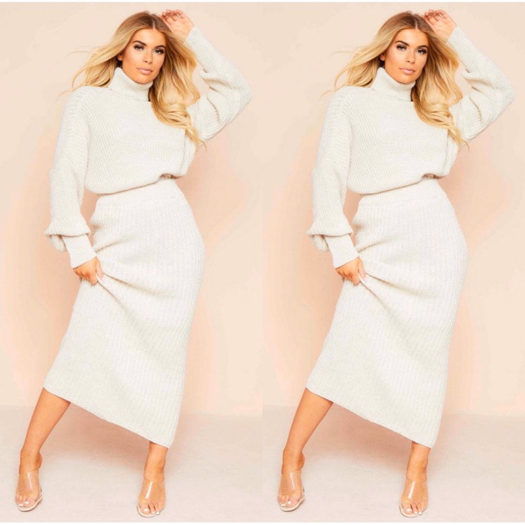 Vicki Beige Knit Set