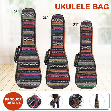 Zebra 21 23 26 Inch Padded Cotton Folk Portable Bass Guitar Gig Bag Ukulele Case Cover Guitar Backpack with Double Strap Parts
